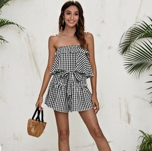 NEW LAYERED BELTED GINGHAM TUBE ROMPER